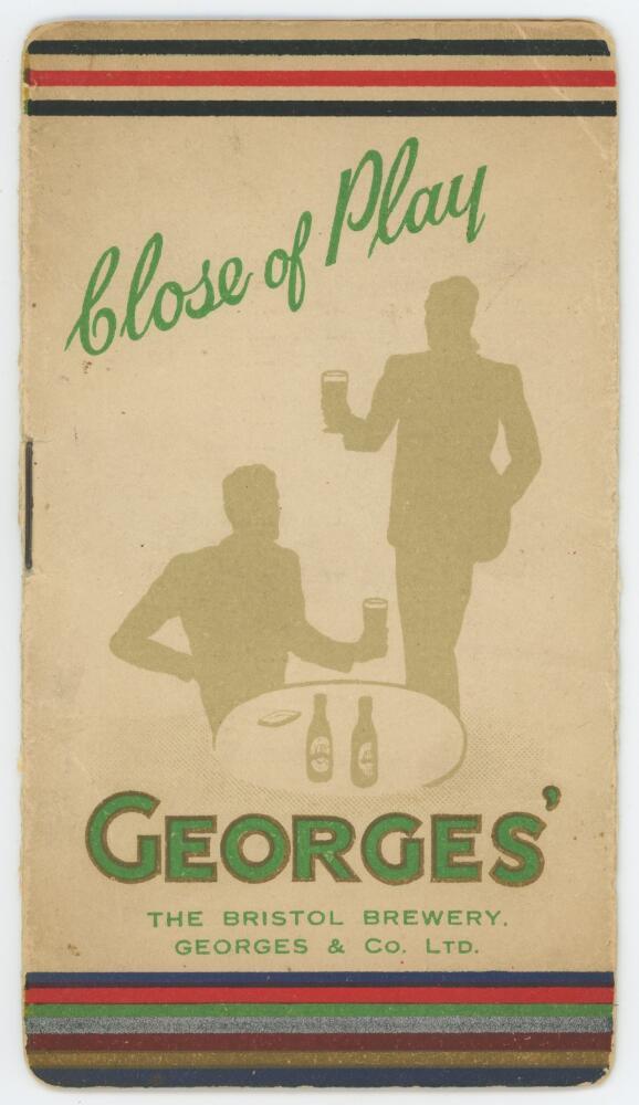 Lot 10 - Australia tour of England 1938. 'The Bristol Brewery. Georges & Co Ltd' Original folding fixture