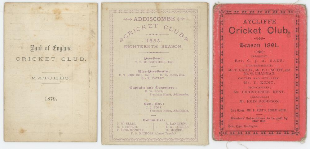 Lot 32 - Early fixture cards. Four original fixtures cards for the Bank of England C.C. 1879 with match