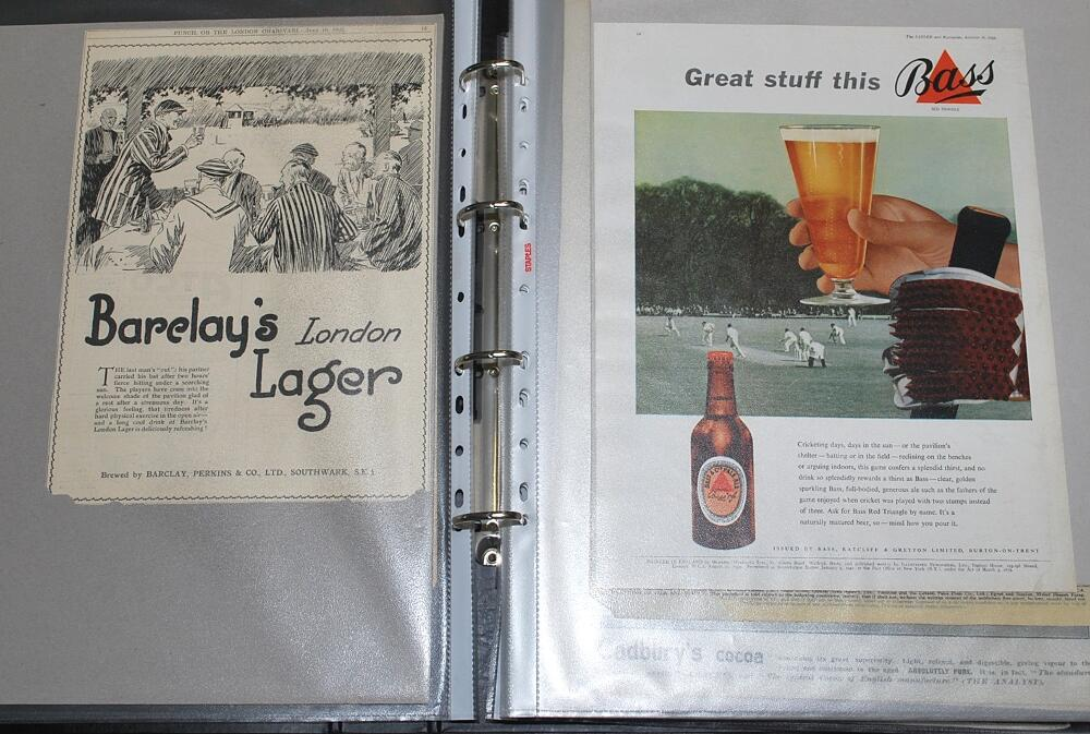Lot 24 - Cricket advertisements 1900s-1970s. Two large folders comprising an excellent selection of fifty