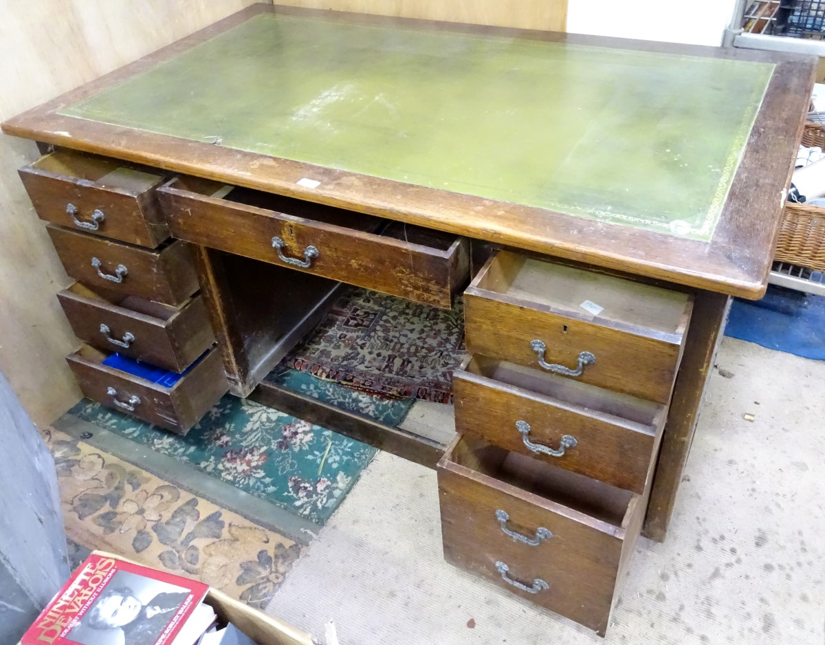 A 1950s desk with green leather insert to top CONDITION: Please Note - we do not - Image 2 of 2