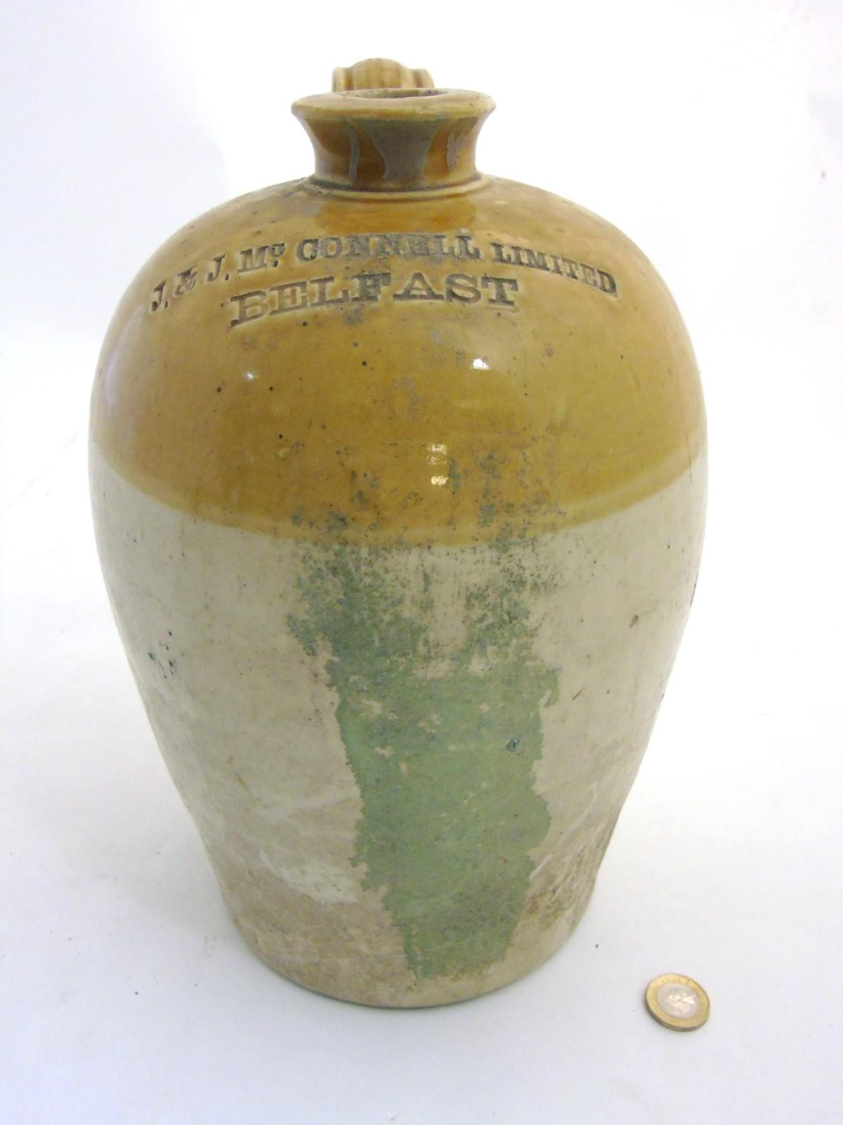 Flagon: A stoneware 2-tone flagon made by Port Dundas Pottery Co. Glasgow for J & J Mc.