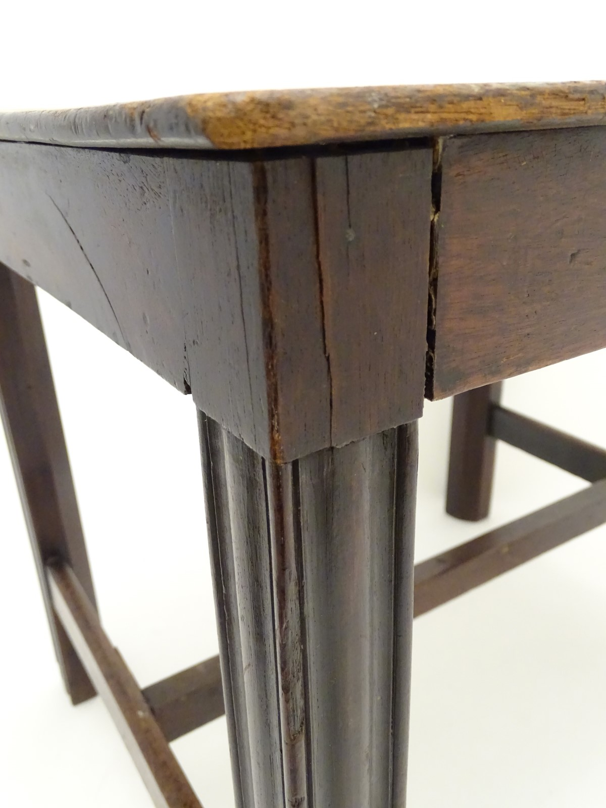A late 18thC mahogany low table / stool with moulded legs and a chamfered frame, - Image 6 of 7