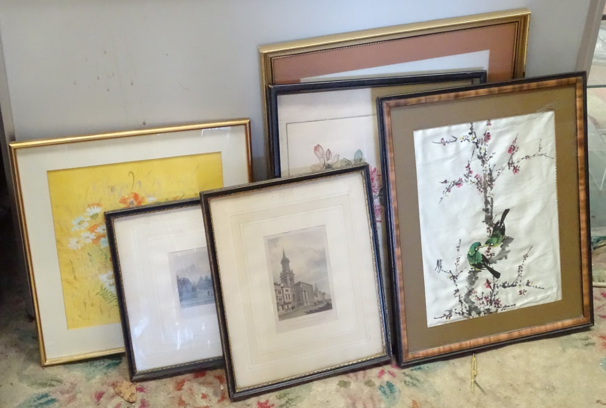 Lot 34 - An assortment of pictures to include a polychrome etching of All Saints Church,