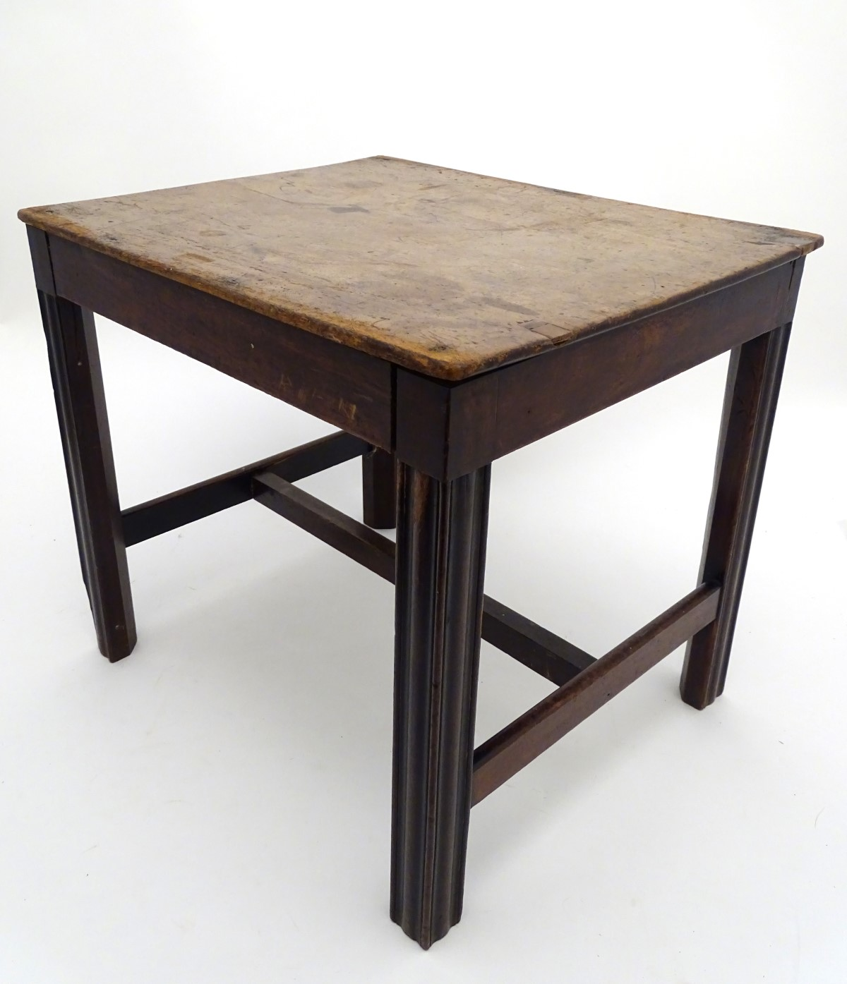 A late 18thC mahogany low table / stool with moulded legs and a chamfered frame, - Image 4 of 7