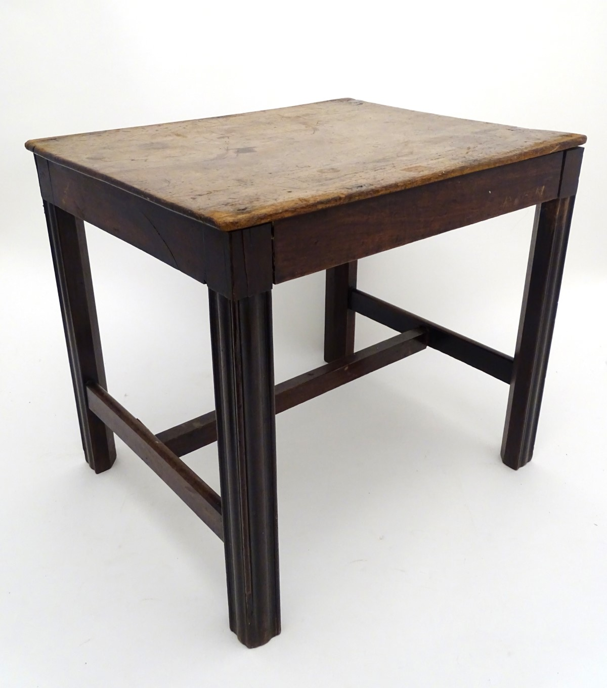 A late 18thC mahogany low table / stool with moulded legs and a chamfered frame, - Image 5 of 7