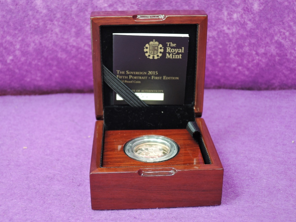 Lot 695 - A gold 2015 United Kingdom Elizabeth II proof Sovereign, in case with certificate
