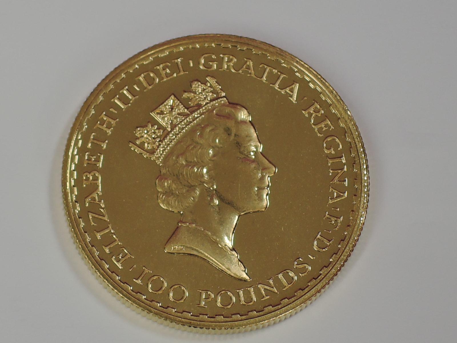 Lot 633 - A gold 1oz 1996 Great Britain Britannia 100 pound coin, in plastic case