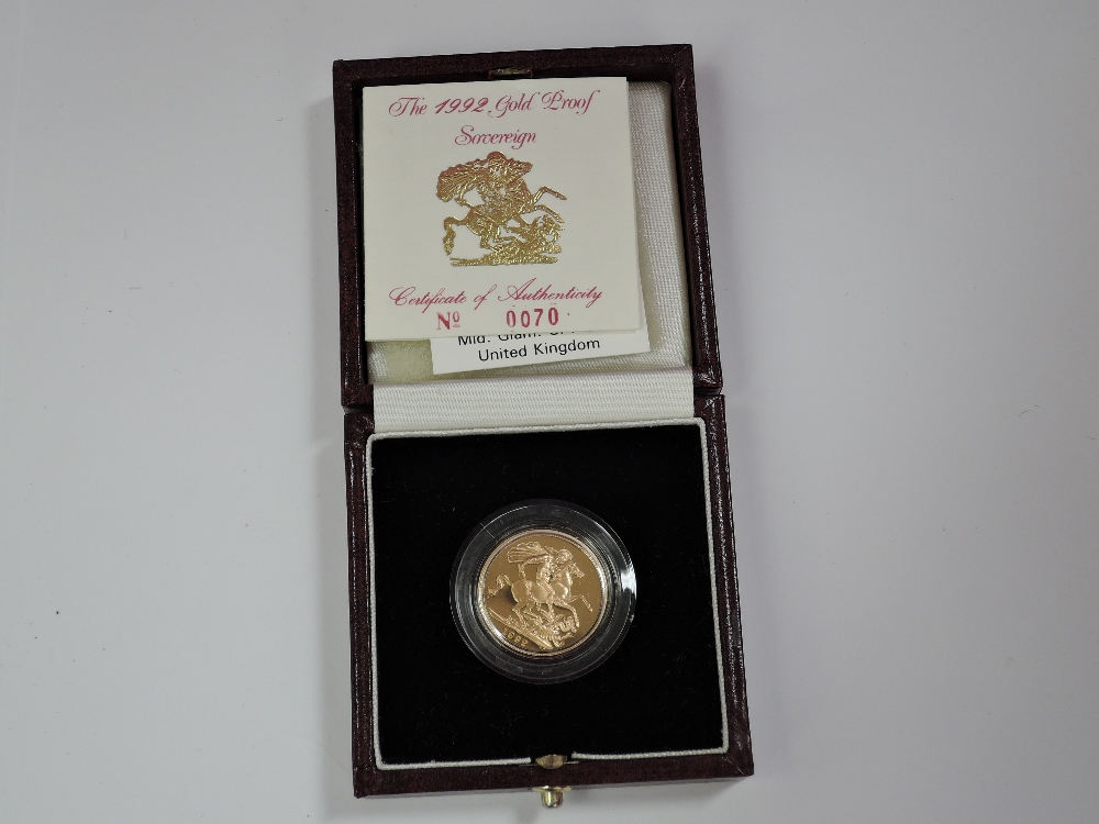 Lot 681 - A gold 1992 United Kingdom Elizabeth II proof Sovereign, in case with certificate