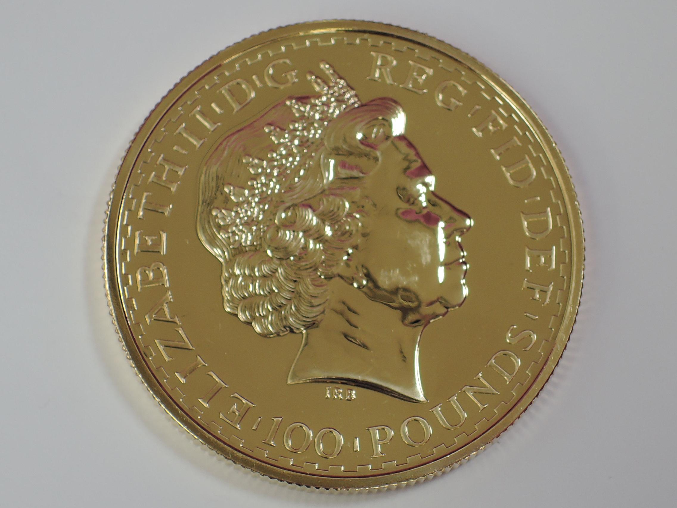 Lot 637 - A gold 1oz 2007 Great Britain Britannia 100 pound coin, in plastic case
