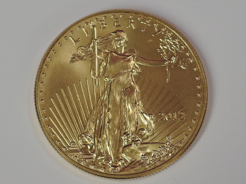 Lot 615 - A gold 1oz 2012 50 dollar U.S.A., coin in plastic case