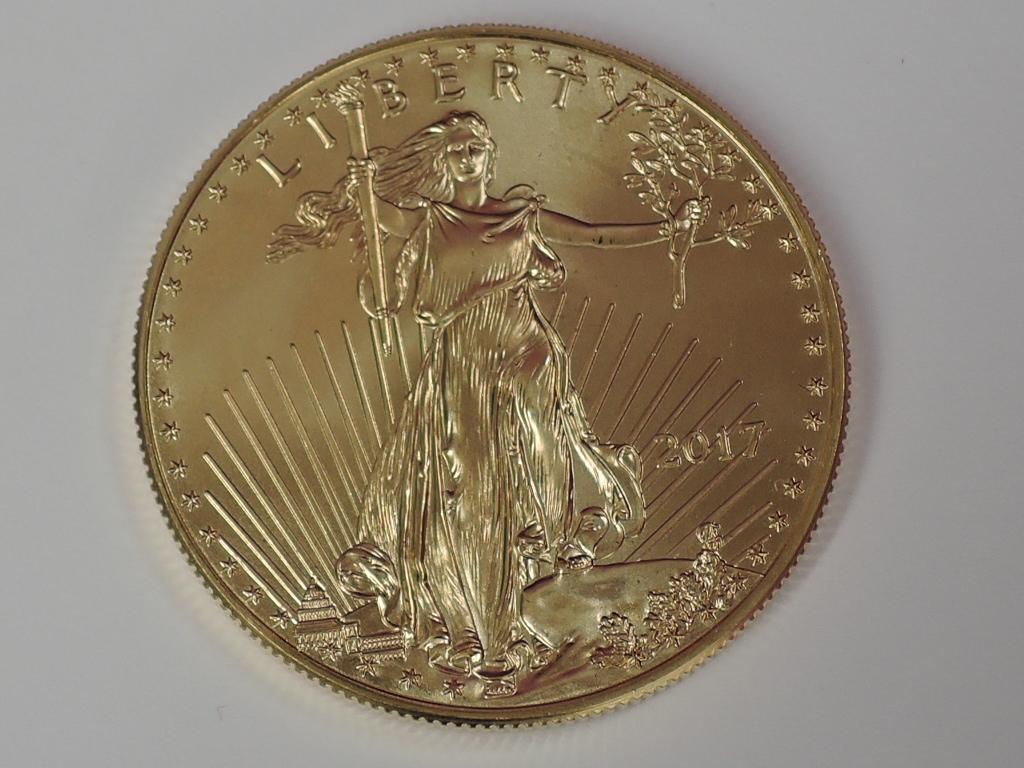 Lot 620 - A gold 1oz 2017 50 dollar U.S.A. coin, in plastic case