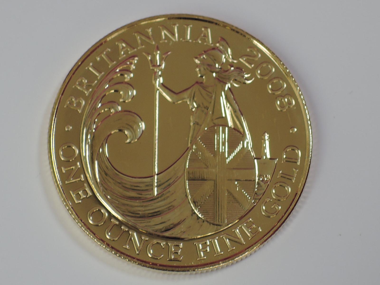 Lot 638 - A gold 1oz 2008 Great Britain Britannia 100 pound coin, in plastic case