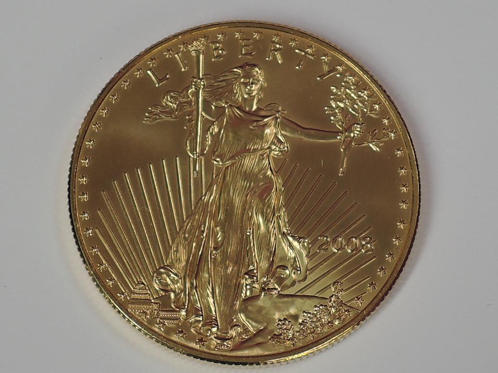 Lot 612 - A gold 1oz 2008 50 dollar U.S.A. Coin, in plastic case