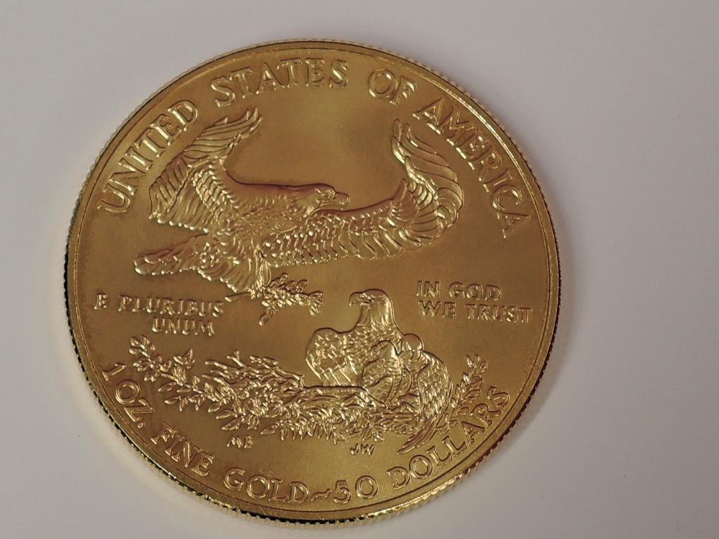 Lot 616 - A gold 1oz 2013 50 dollar U.S.A. coin, in plastic case