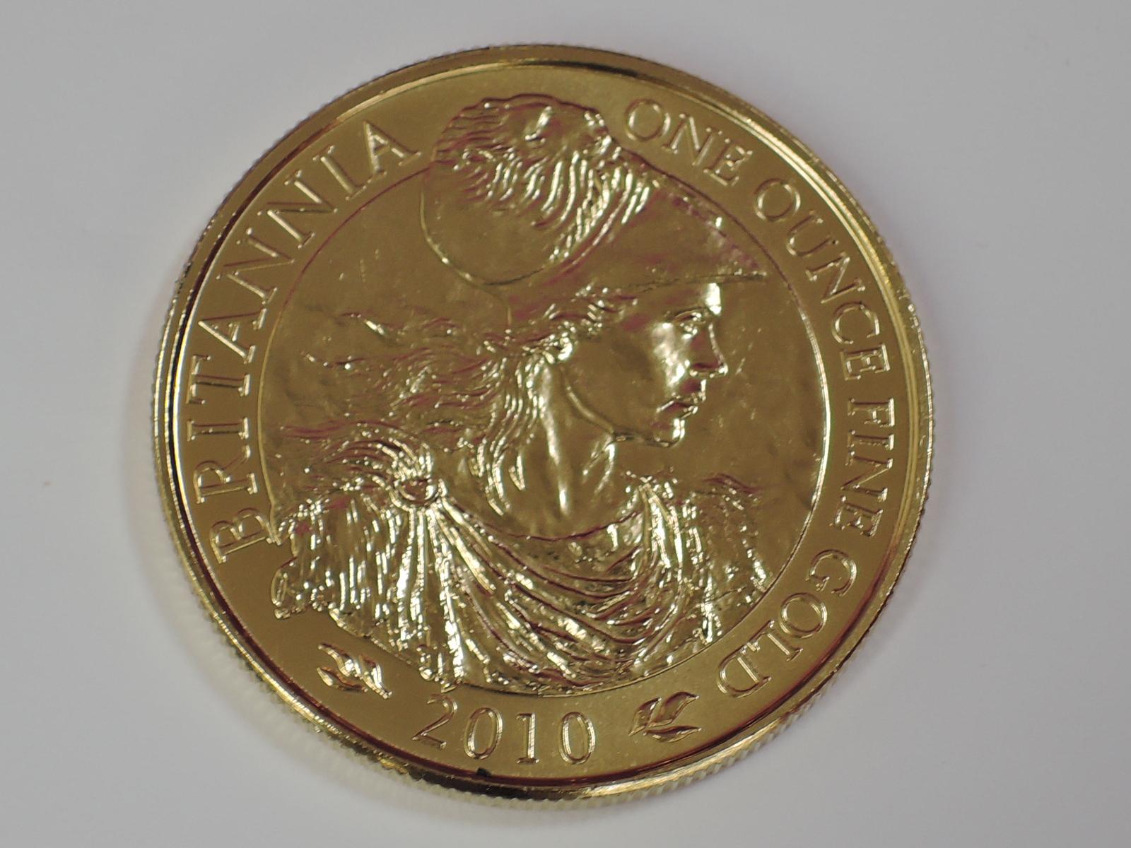 Lot 640 - A gold 1oz 2010 Great Britain Britannia 100 pound coin, in plastic case