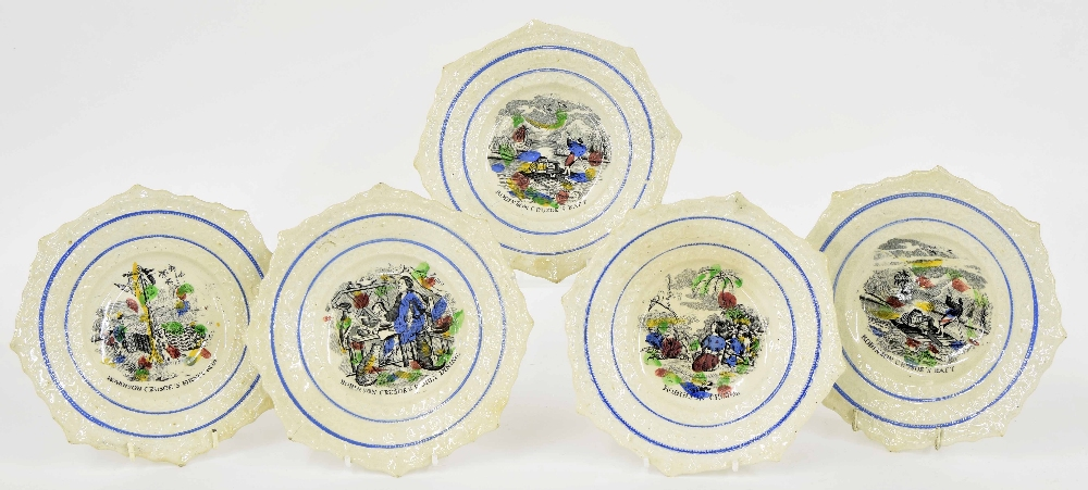 Lot 56 - Five 19th century octagonal relief moulded pottery children's bowls, transfer printed with