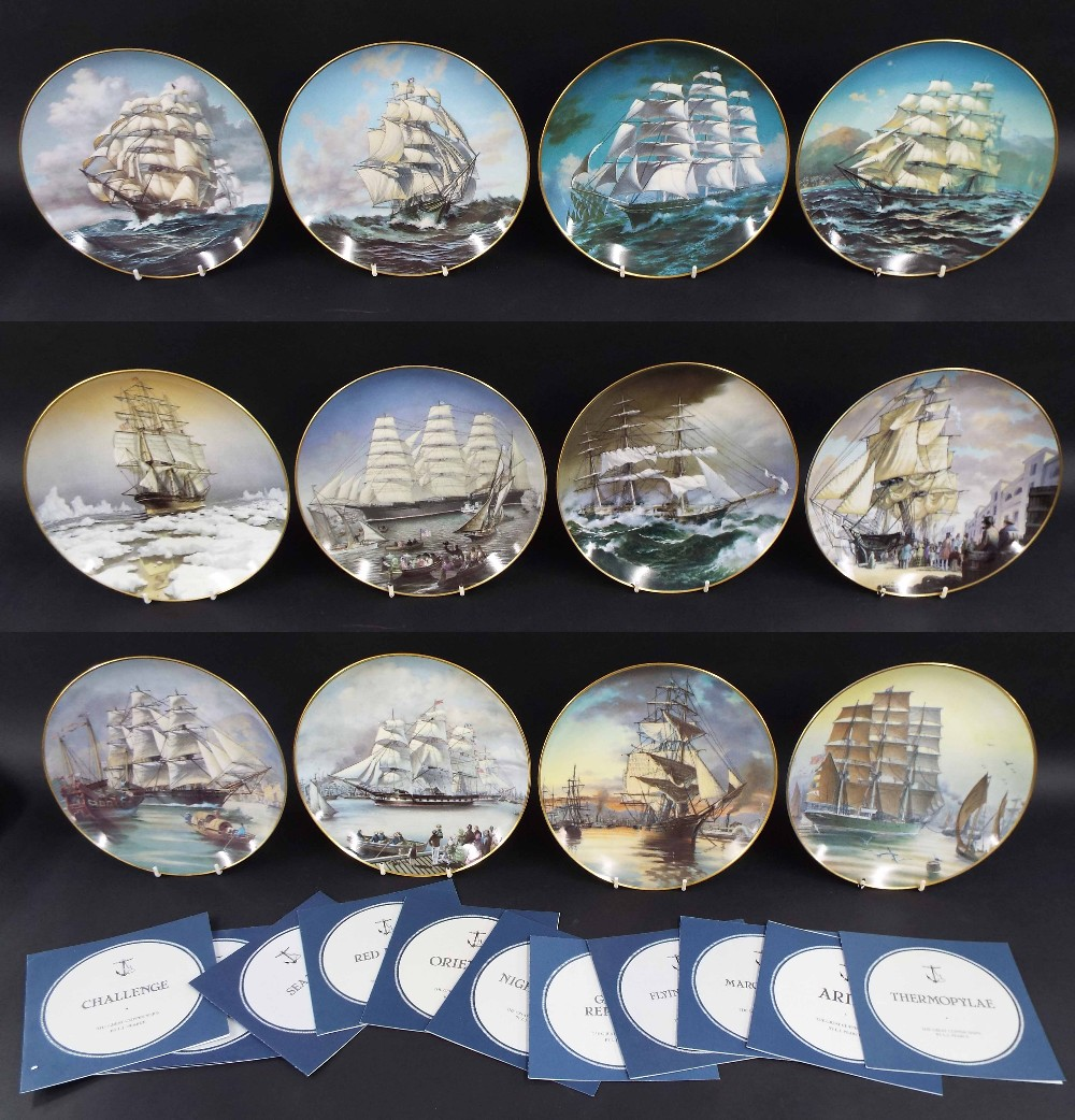 Lot 37 - Set of Franklin Mint limited edition plates from the Great Clipper Ships Series by L.J Pierce,
