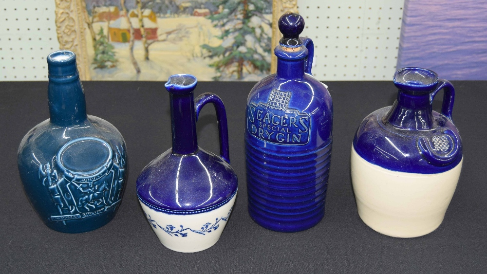 """Lot 48 - Royal Doulton 'Seagers Special Dry Gin' flagon with stopper, 9.5"""" high, together with two other"""