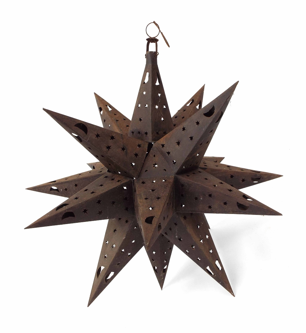 """Lot 36 - Large Spanish metal star hanging lamp, with star pierced facets, 31"""" approx drop (at fault)"""