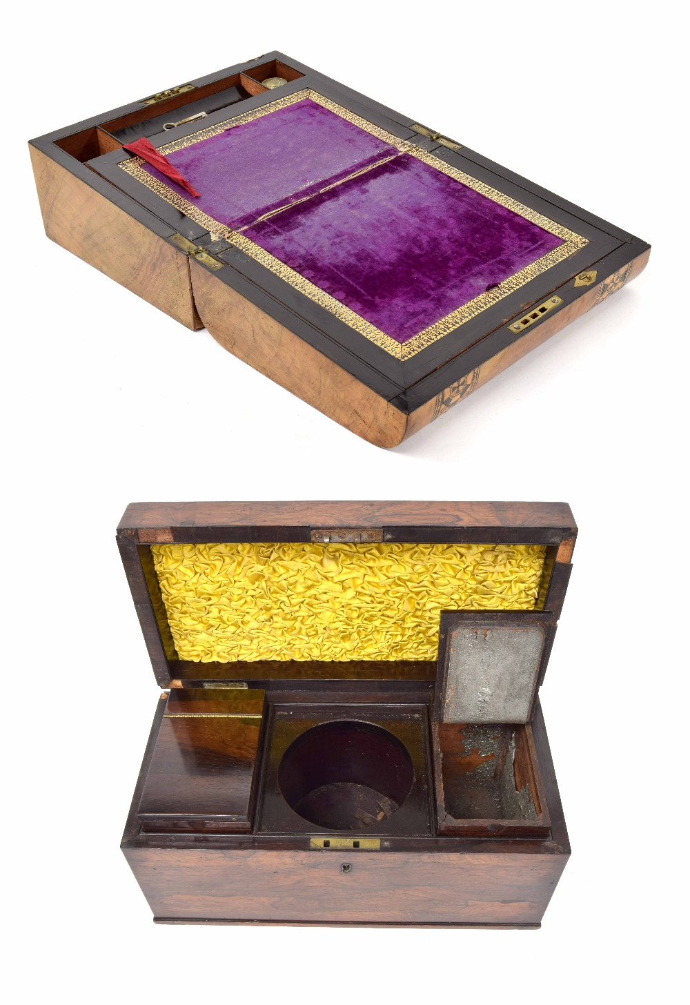 Lot 25 - Victorian walnut writing slope, the box with parque mosaic and mother of pearl inlay to lid