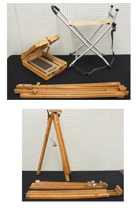 Lot 3 - An artists easel/paintbox, together with four further folding easels and a folding stool (6)