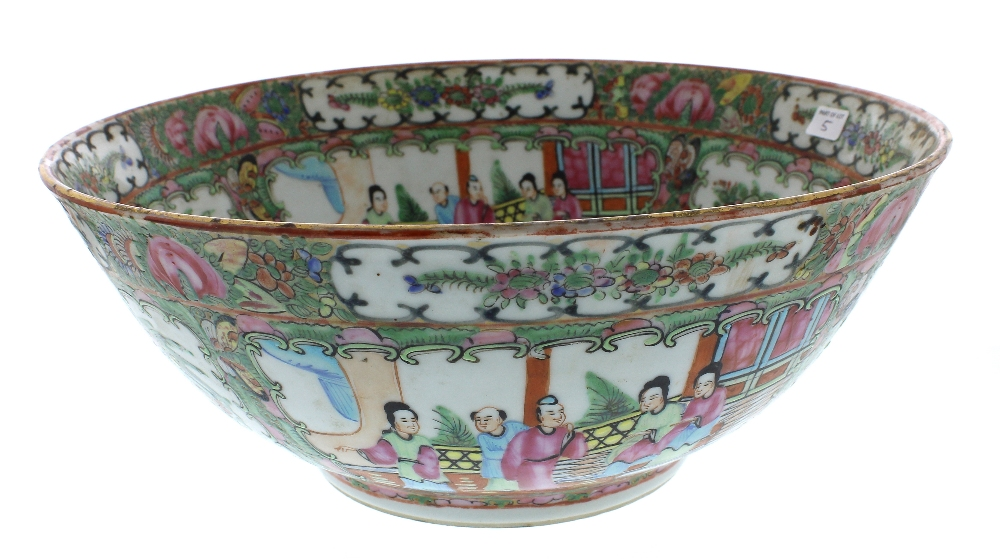 """Lot 5 - Chinese Cantonese famille rose circular bowl, 12"""" diameter; Continental pottery ewer, Chinese ginger"""