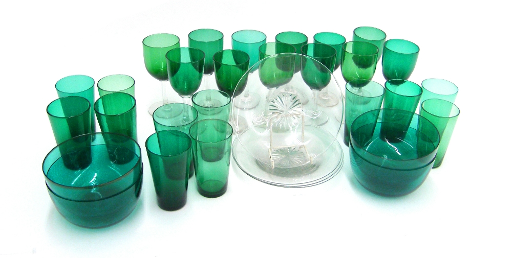 Lot 60 - Assorted Victorian and later green glass ware to include sherry glasses, cordial tumblers and four