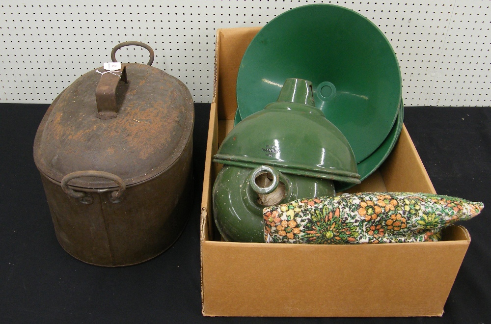 """Lot 28 - Pair of vintage Maxlume industrial painted metal light shades, 11.5"""" diameter; together with a"""