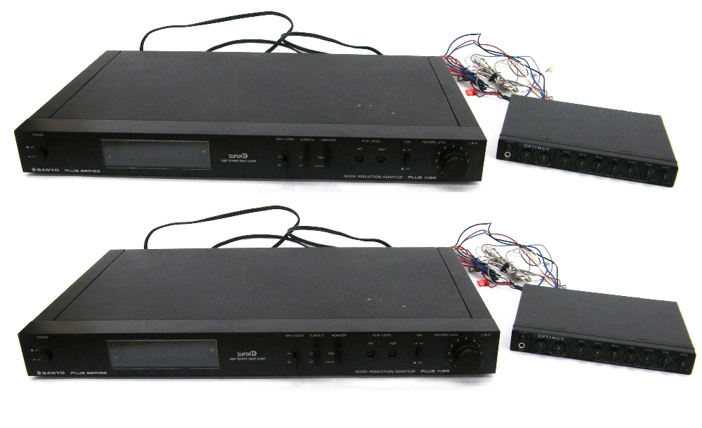 Lot 47 - Two Sanyo Plus Series N55 noise reduction adapters (European plugs); together with two Optimus