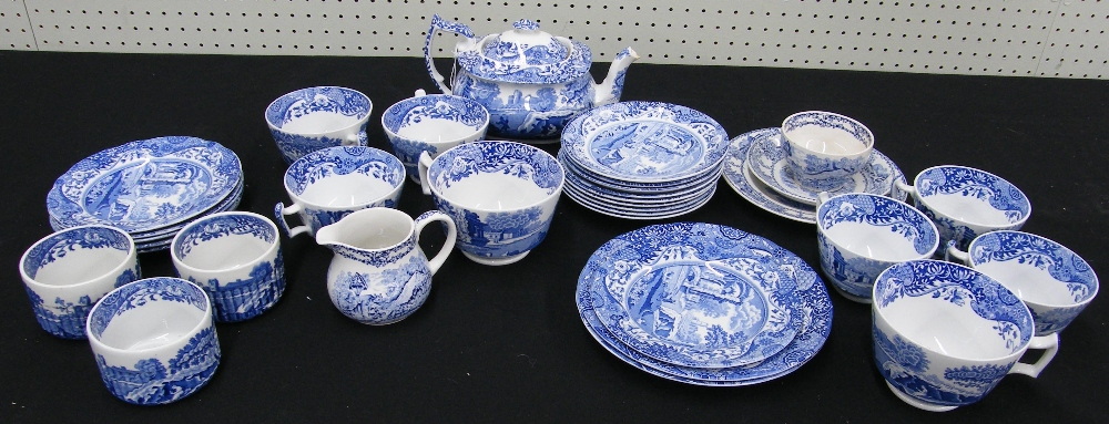 Lot 20 - Spode Italian pattern tea service; together with Royal Staffordshire 'Rural Scenes' by Clarice Cliff