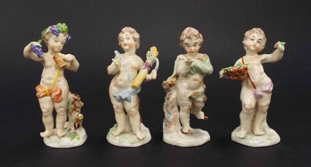 "Lot 53 - Set of four Rudolstadt German porcelain figures depicting cherubs, each 4.75"" high (4)"