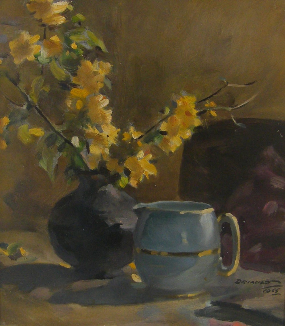 Lot 213 - •Attributed to Sydney Briault (1887-1955) - 'Flower Piece' Forsythia in a blue vase, with a pot