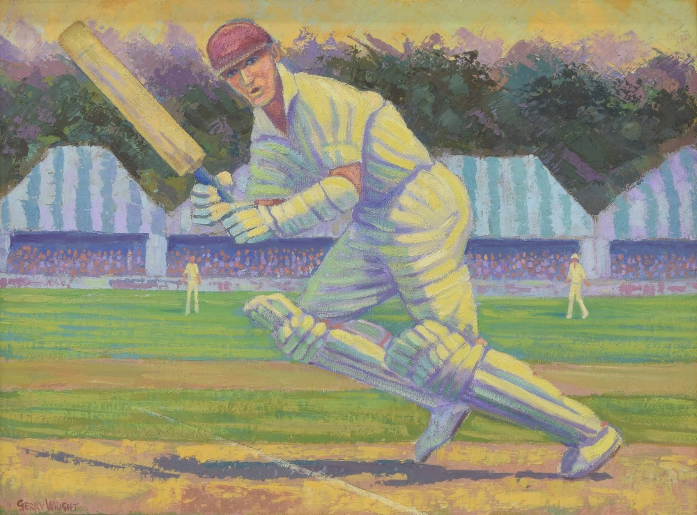 "Lot 222 - Gerry Wright (20th/21st century) - ""The Winning Run"", a cricketer, signed, also inscribed verso"