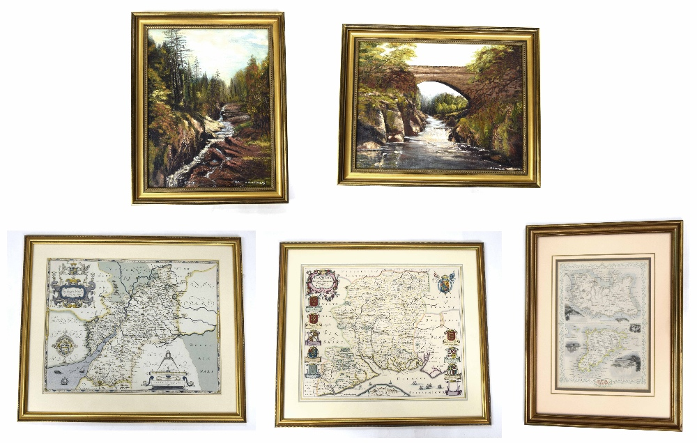 "Lot 239 - A.R Goulray (20th Century) - ""River Esk, Scotland"" and ""The Bridge Over the Esk, Scotland"", both"
