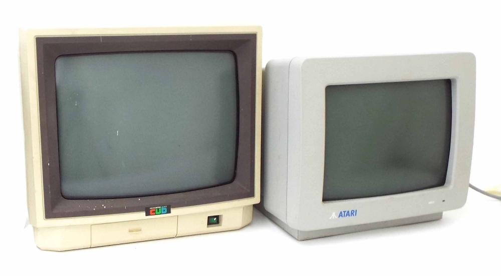 Lot 22 - Vintage Atari model SM124 computer monitor; together with a Microvitec Cub monitor (2)