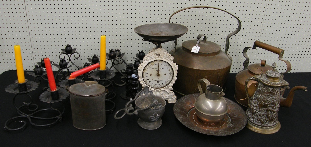 Lot 15 - Assorted metal wares including two copper kettles, kitchen scales, interesting presentation relief