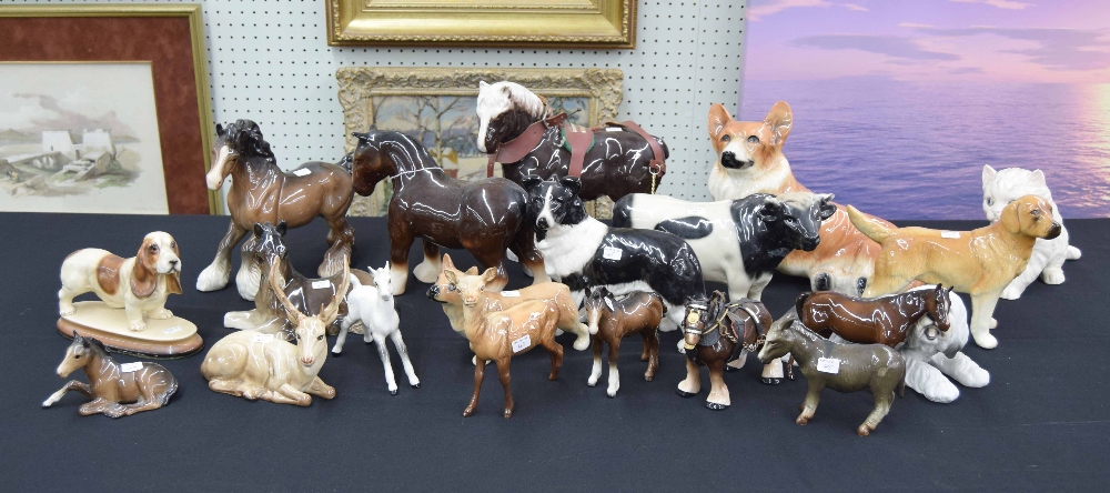 Lot 45 - Seven assorted Beswick horses, together with an assortment of other pottery and porcelain animal