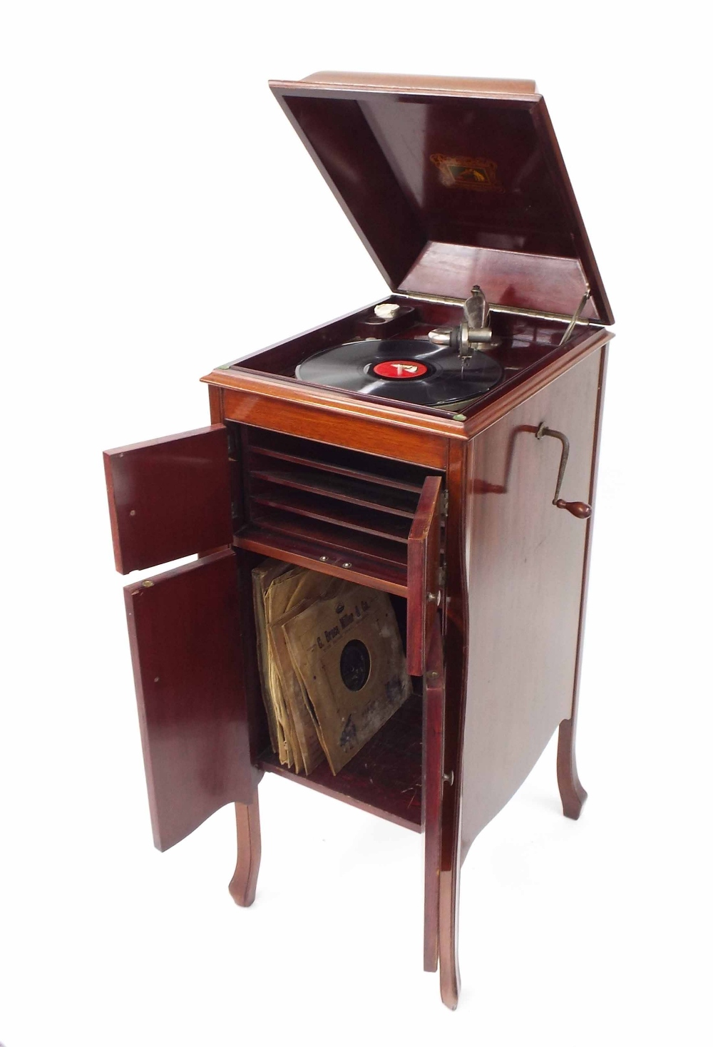 "Lot 35 - H.M.V cabinet gramophone, with an exhibition soundbox, 42"" high 18"" wide"