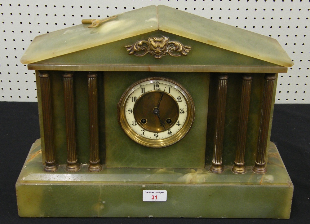 "Lot 31 - Onyx two train mantel clock in a Corinthian column architectural case, 12.5"" high"