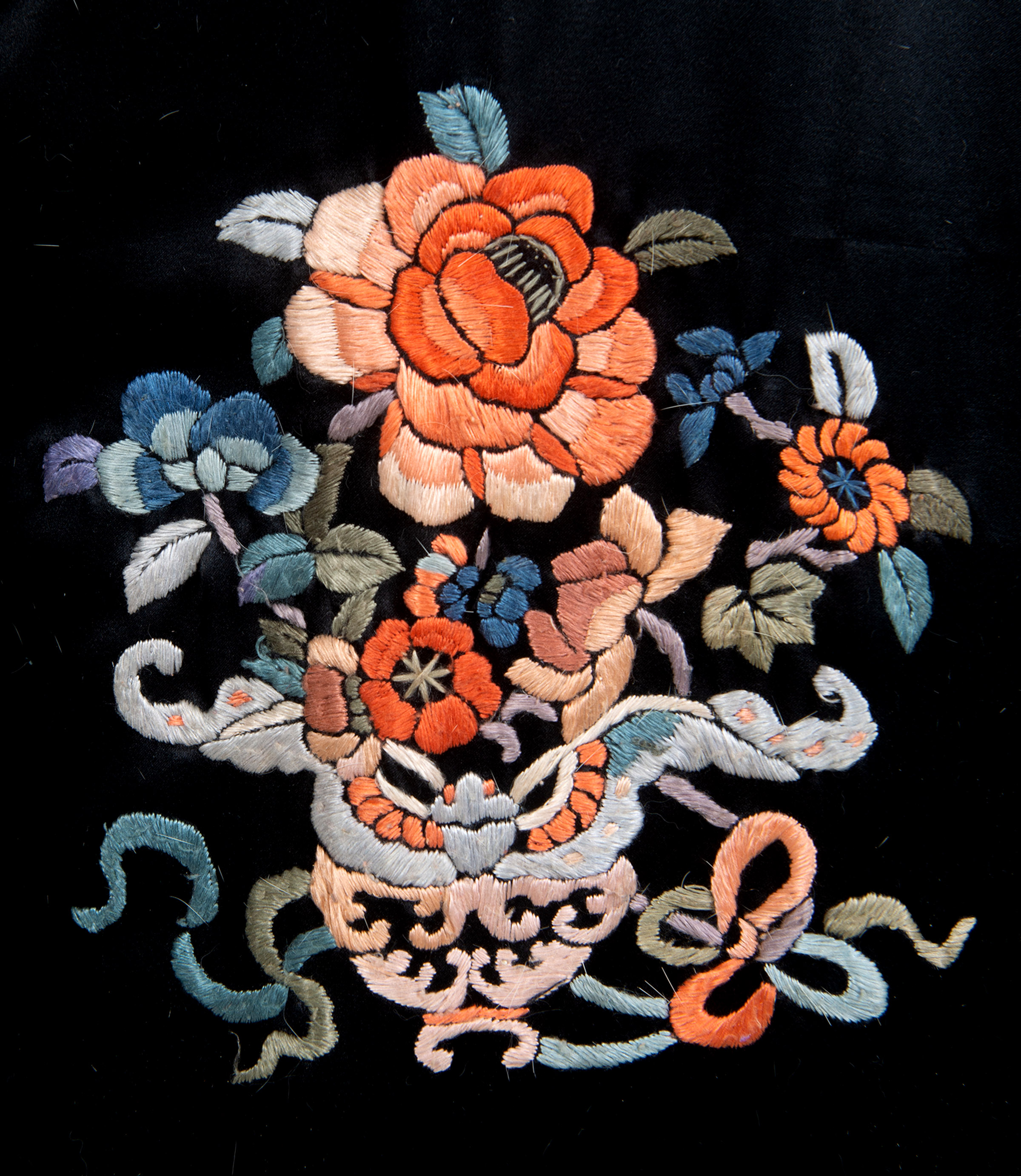 CHINESE FUR LINED EMBROIDERED COAT a fur lined coat adapted from a black silk Chinese robe, - Image 2 of 3
