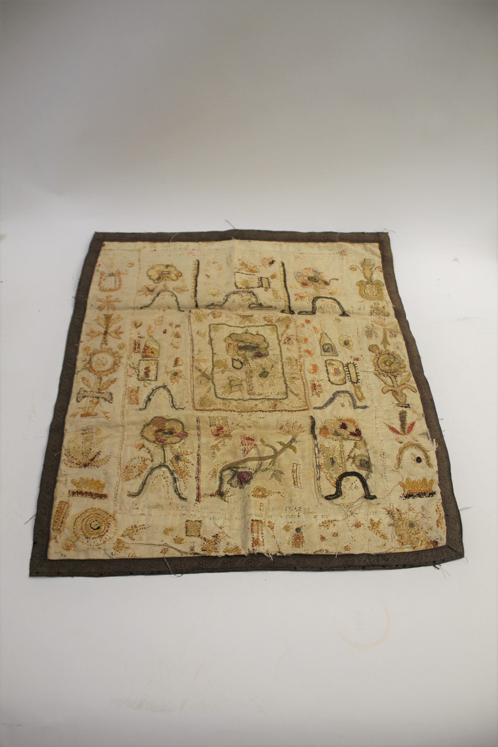 RARE 17THC SPOT SAMPLER a spot sampler onto linen with various flowers depicted, including a later - Image 2 of 2