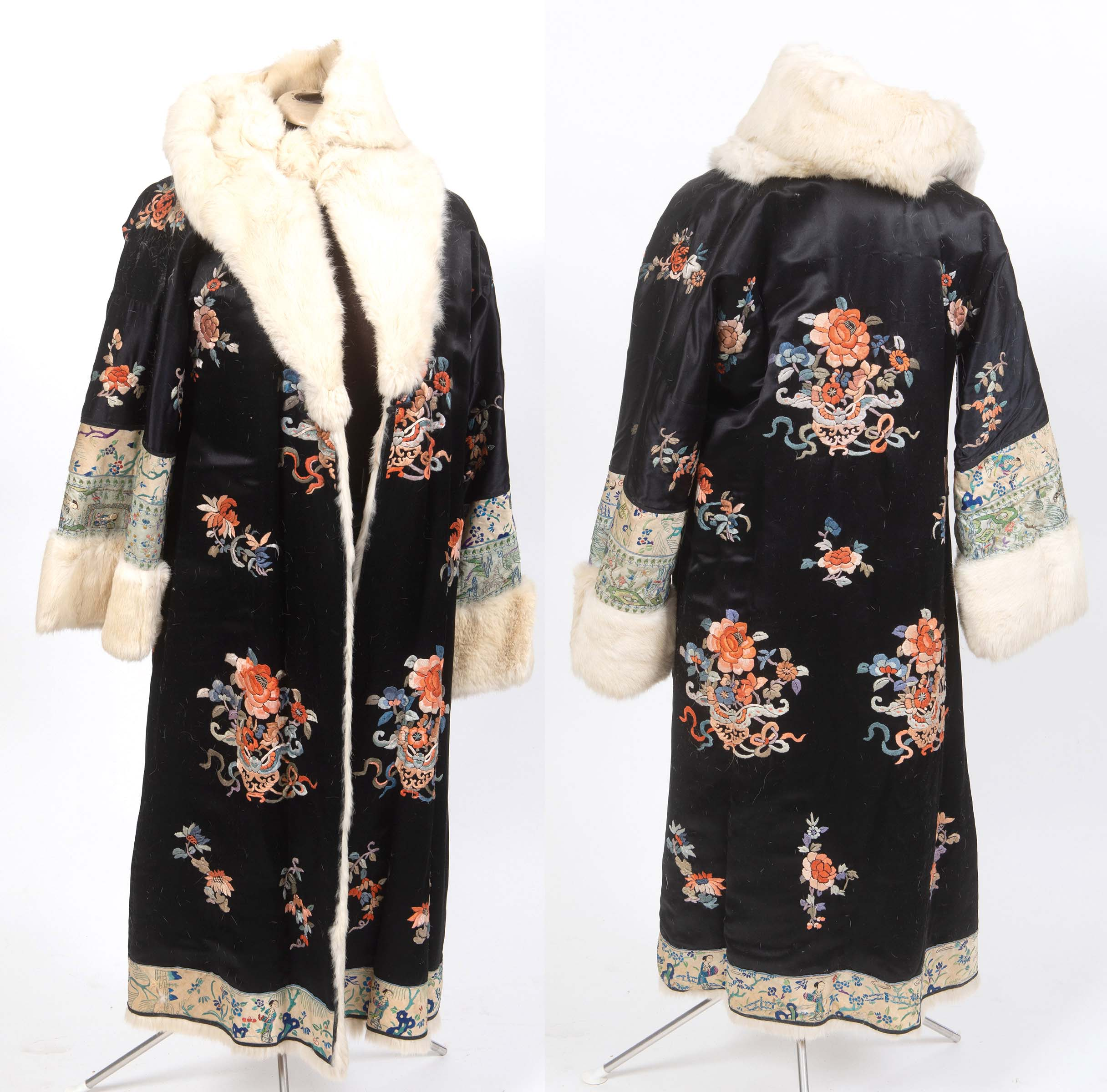 CHINESE FUR LINED EMBROIDERED COAT a fur lined coat adapted from a black silk Chinese robe,