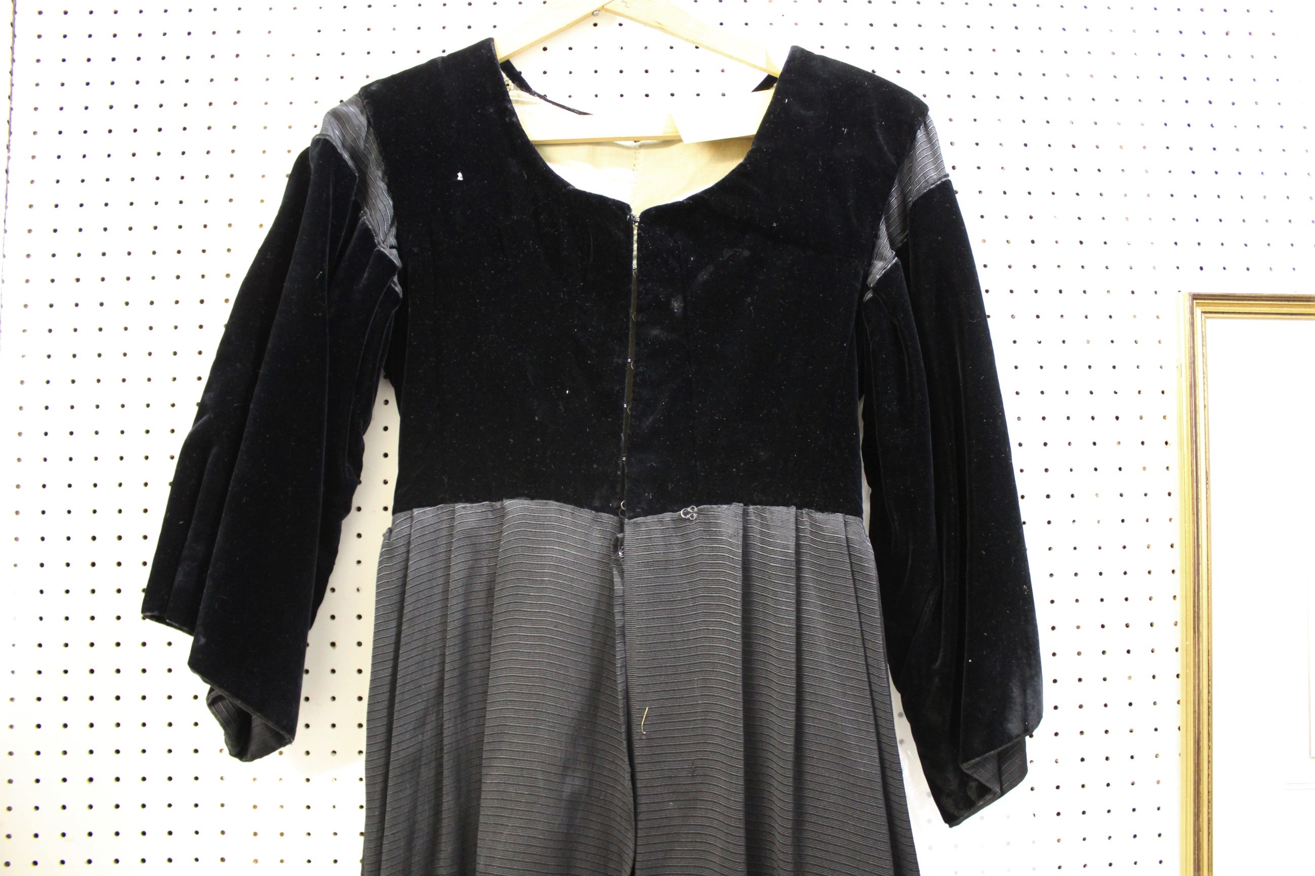 Lot 1892 - BRETON VELVET DRESS an early 20thc black velvet and grosgrain dress with lined tailored bodice,