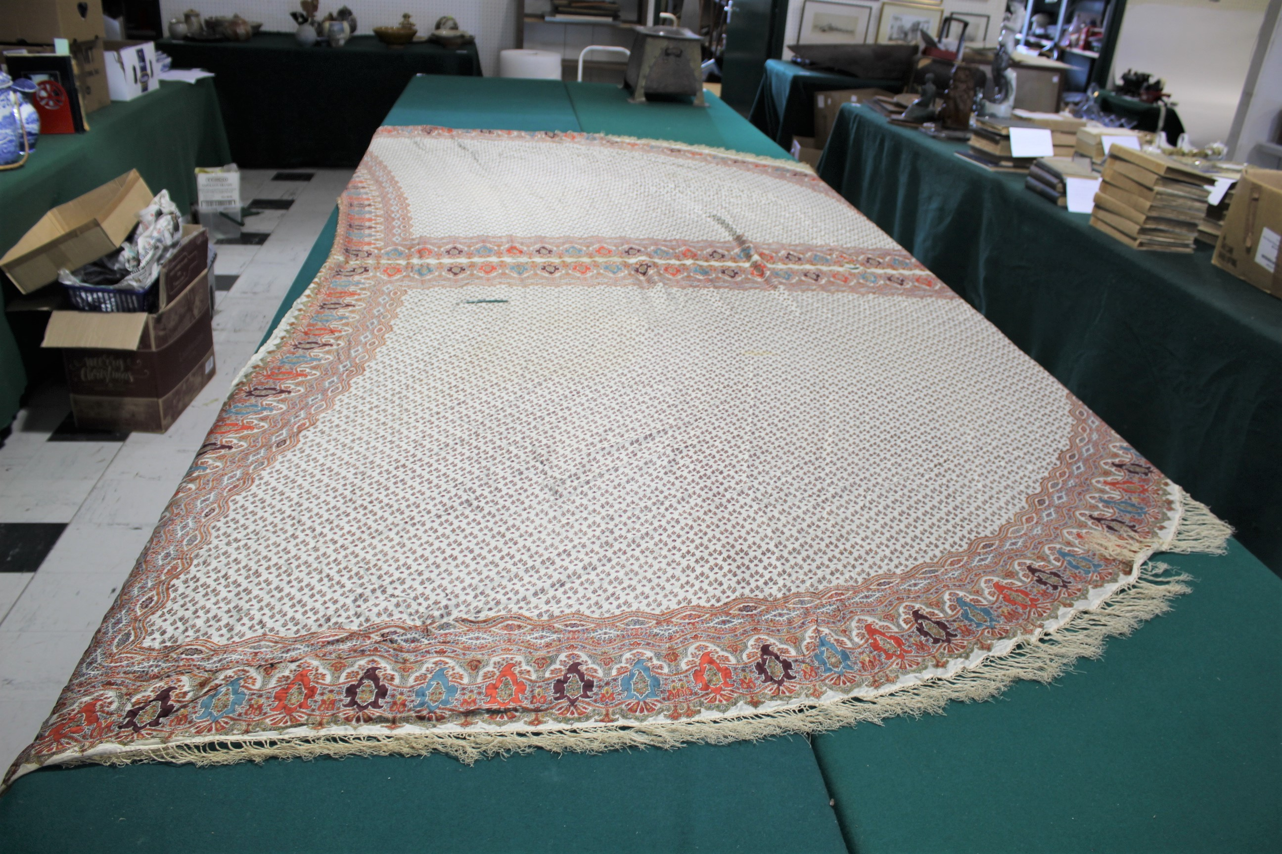 19THC PAISLEY SHAWL a mid 19thc paisley wool cashmere shawl (264cms by 126cms), and also with a fine - Image 8 of 9