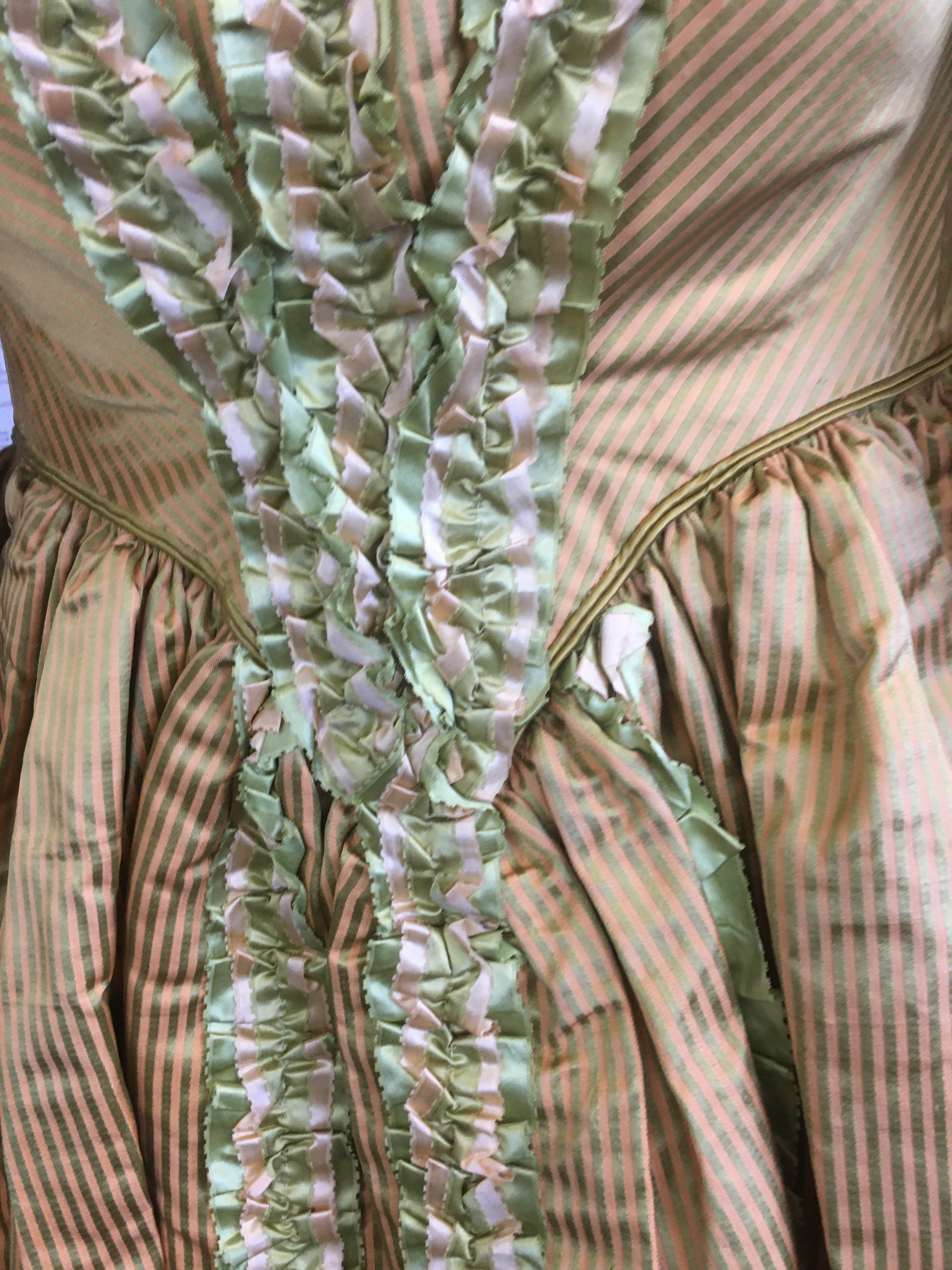 19THC SILK LADIES DRESS a mid 19thc apricot and olive green striped silk dress, decorated with - Image 8 of 9