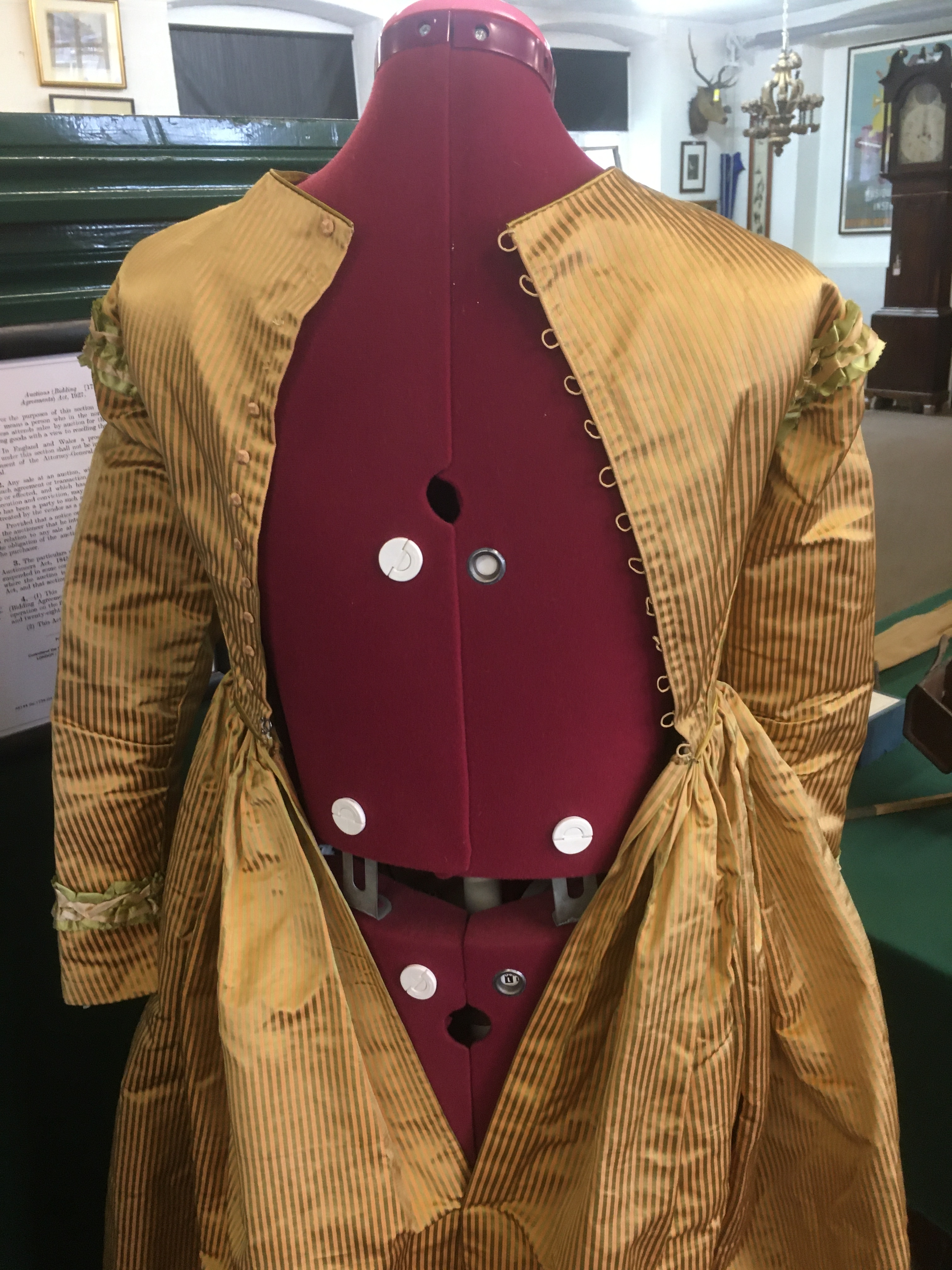 19THC SILK LADIES DRESS a mid 19thc apricot and olive green striped silk dress, decorated with - Image 4 of 9