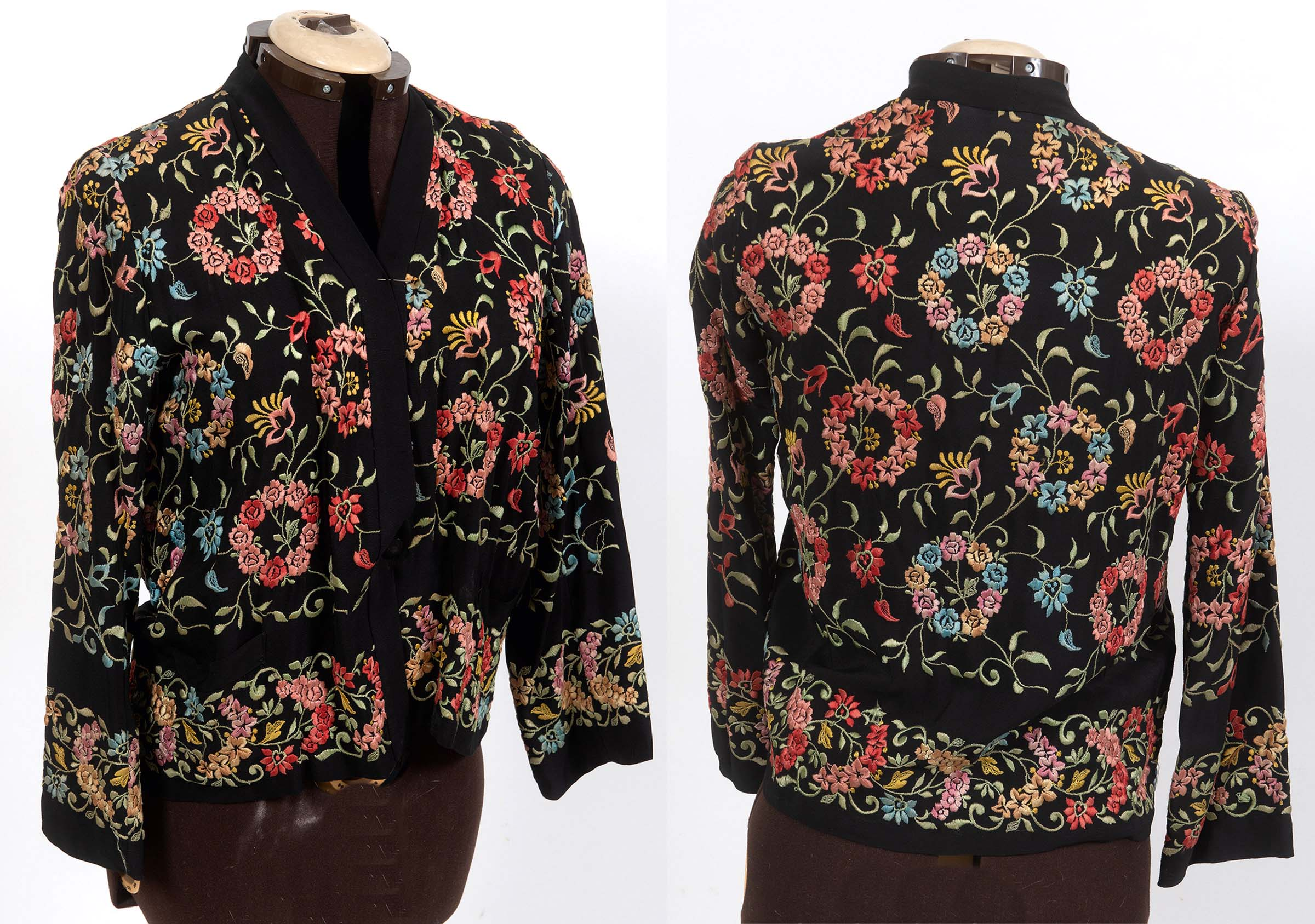 CHINESE FUR LINED EMBROIDERED COAT a fur lined coat adapted from a black silk Chinese robe, - Image 3 of 3