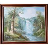 Art Oil Painting Landscape Scene Waterfall Signed R Danford Lower Left