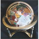 Collectable Agate and Brass 12 inch Globe White Base Colour