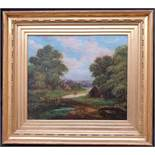 Antique Art Picture Framed Oil Painting on Canvas Country Scene Signed Vicars